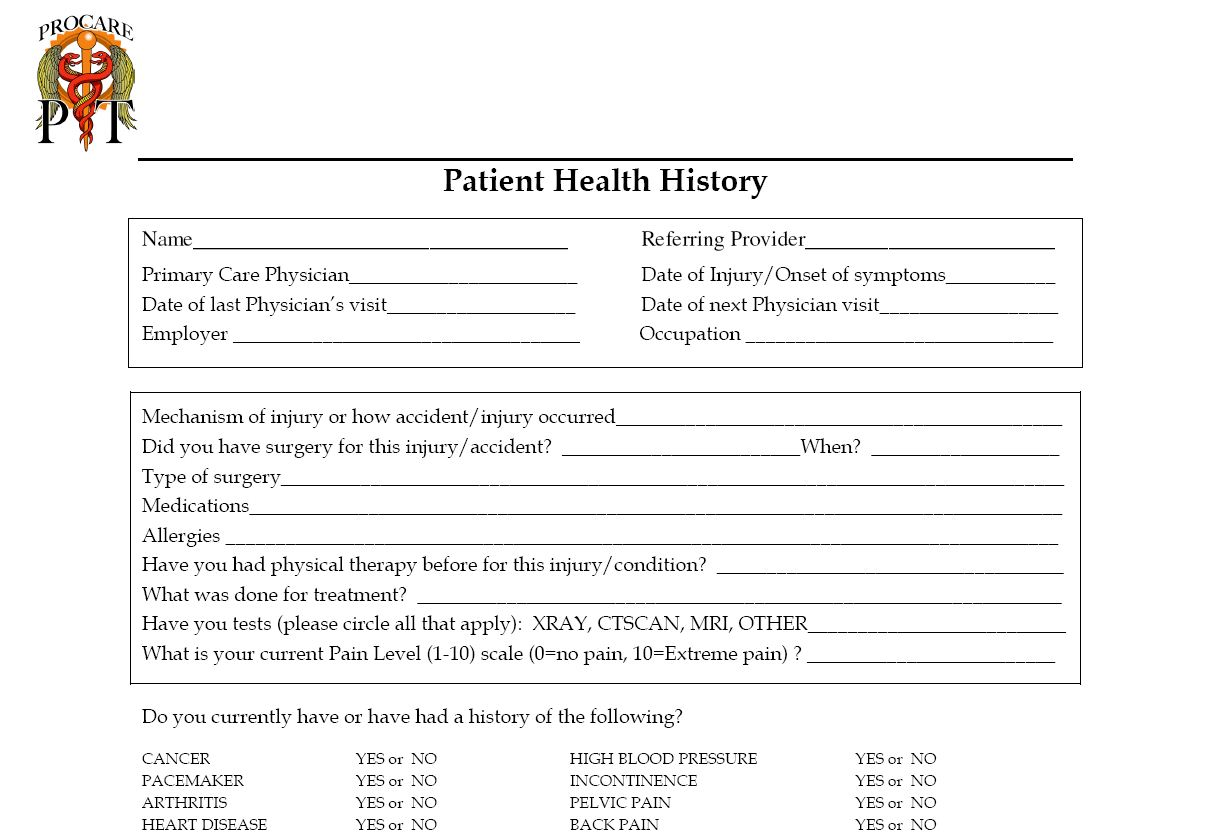 new patient history form template personal medical history forms