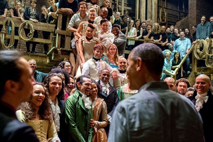 President Barack Obama meets the cast of Hamilton, July 18, 2015.