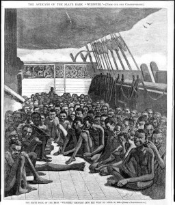 The American slaver Wildfire, captured near Cuba with 510 Africans in 1860. 90 Captives had died during the Middle Passage. Harper's Weekly (June 2, 1860), vol. 4, p. 344.