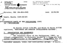 """The image is the top portion of an FBI document labeled """"Memorandum. Subject: Communist Party of the Philippines."""""""