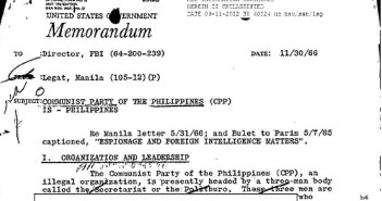 "The image is the top portion of an FBI document labeled ""Memorandum. Subject: Communist Party of the Philippines."""