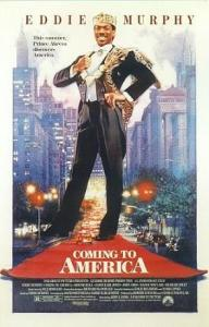 This is the promotional poster for the movie Coming to America. It shows the lead character super-imposed over an image of a New York street full of skyscrapers.