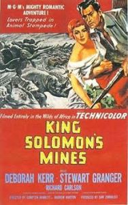 The image is the movie poster promoting King Solomon's Mines. It shows two lead characters in color in front of a black and white image of rhinoceros.