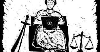 This image depicts lady justice sitting in a chair with a laptop on her lap. A sword appears to her left and the set of scales appear to her right. The image is in the style of a woodcut.