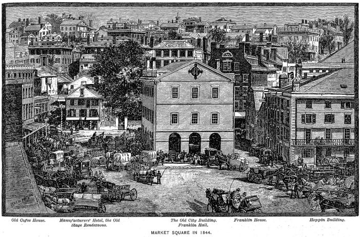 An engraving shows a large open square full of horse-drawn carts and people.