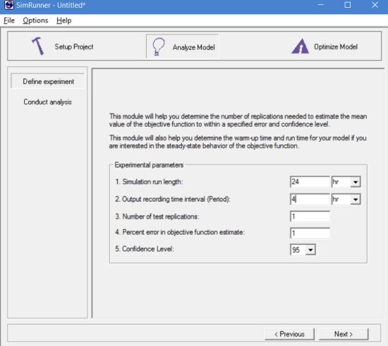 Defining experiments to analyze model using simrunner
