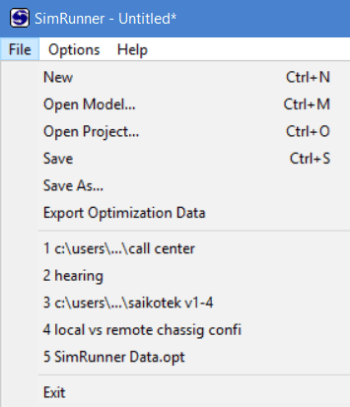 File menu of simrunner