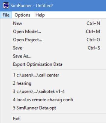 File menu of simrunner
