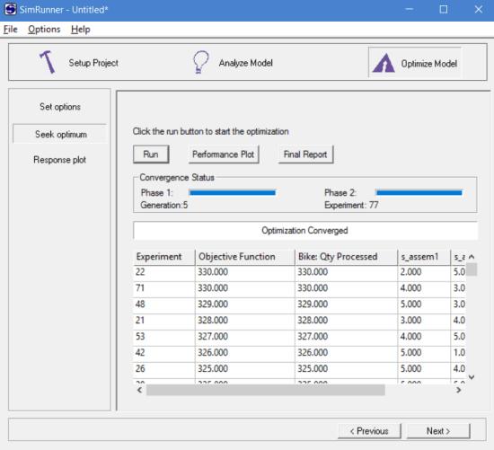 Optimization data in simrunner results