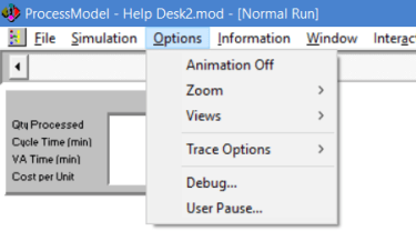 options menu during simulation in processmodel