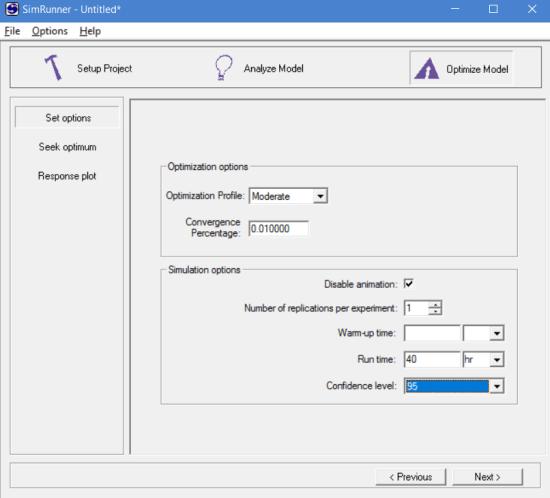 Setting options to optimize model in simrunner