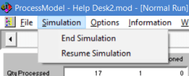 simulaiton menu during simulation in processmodel