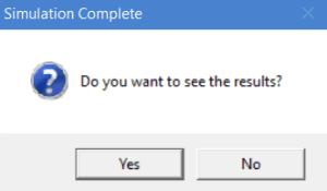 Simulation complete prompt for ProcessModel simulation software