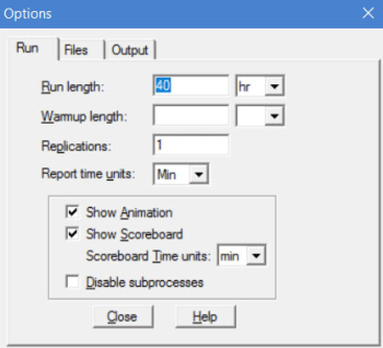 simulation menu of processmodel