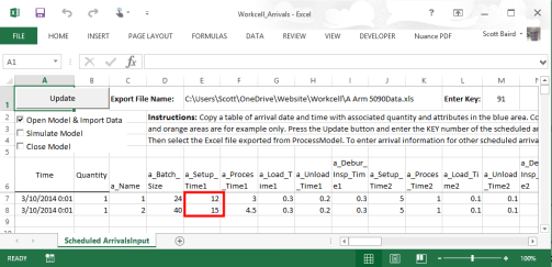 "Change the setup time on the ""Workcell Arrivals"" spreadsheet"
