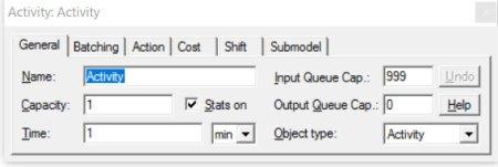 Properties dialog activity general ProcessModel software