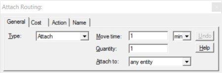 Properties dialog entity routing attach route ProcessModel software