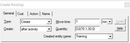 Properties dialog entity routing create route ProcessModel software