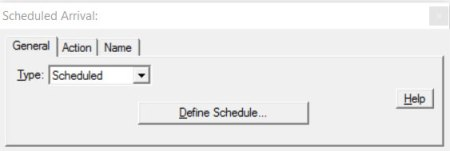 Properties dialog entity arrivals scheduled ProcessModel software