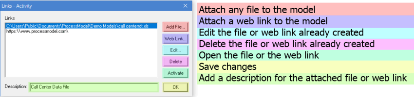 link files and web links dialog