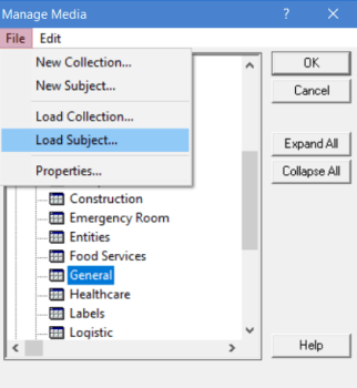 loading subject from the file menu