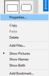 opening properties window for an object