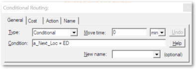 Conditional routing dialog