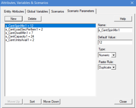 Manual-Centrifuge scenario parameters dialog