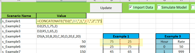 Setting up the ScenarioInput worksheet