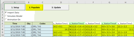 populate time attributes scheduled arrivals with table input