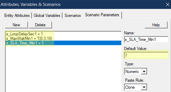 change scenario values in Renege, SLA, Rand