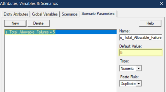 define scenario parameter in verify pass fail