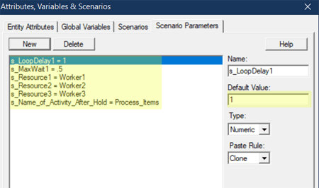 define scenario parameters in Renege After Waiting Too Long