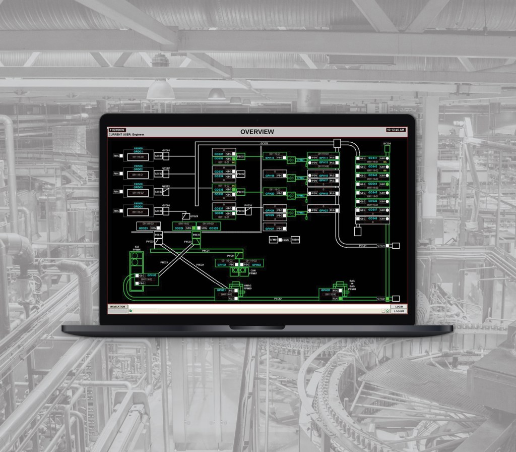 SCADA program for a food processing facility displayed on a laptop computer