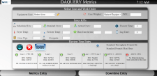 DAQuery Manufacturing Software Metrics Input Screen