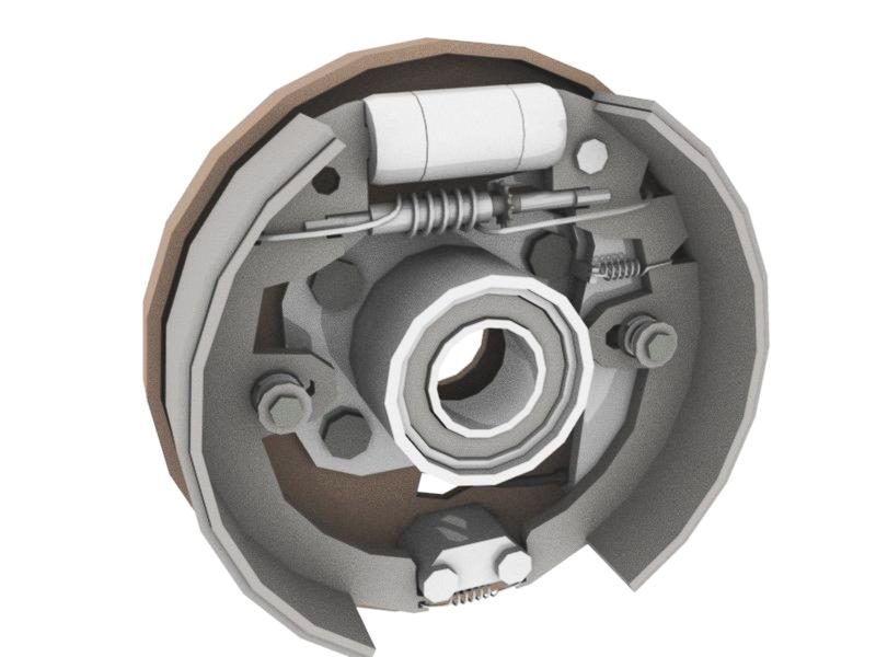 A render of a drum brake. Image courtesy of wikipedia.org.