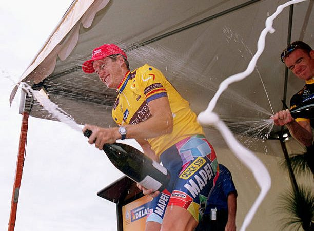 Michael Rogers celebrates winning the 2002 Tour Down Under