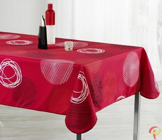 nappe rectangulaire anti tache fantaisie rouge