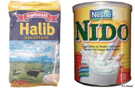 Sénégal-La filière lait, du global au local-Les importations laitières au Sénégal-Sachet et boîte de lait en poudre importé et conditionné au Sénégal