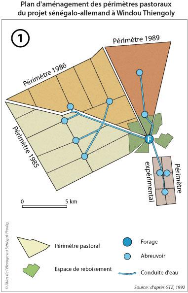 Sénégal-Les territoires de l'élevage-Des tentatives pour territorialiser l'élevage-Plan d'aménagement des périmètres pastoraux du projet sénégalo-allemand à Windou Thiengoly