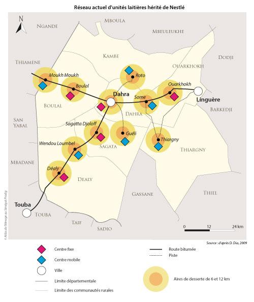 Sénégal-La filière lait, du global au local-Ce qui reste du lait à Dahra-Réseau actuel d'unités laitières hérité de Nestlé