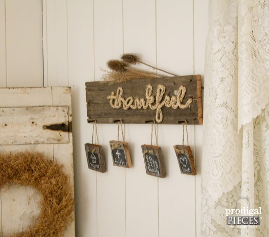 "Build a DIY ""Thankful"" sign perfect for the holiday season out of new or reclaimed wood by Prodigal Pieces for Best Laminate www.prodigalpieces.com #prodigalpieces"