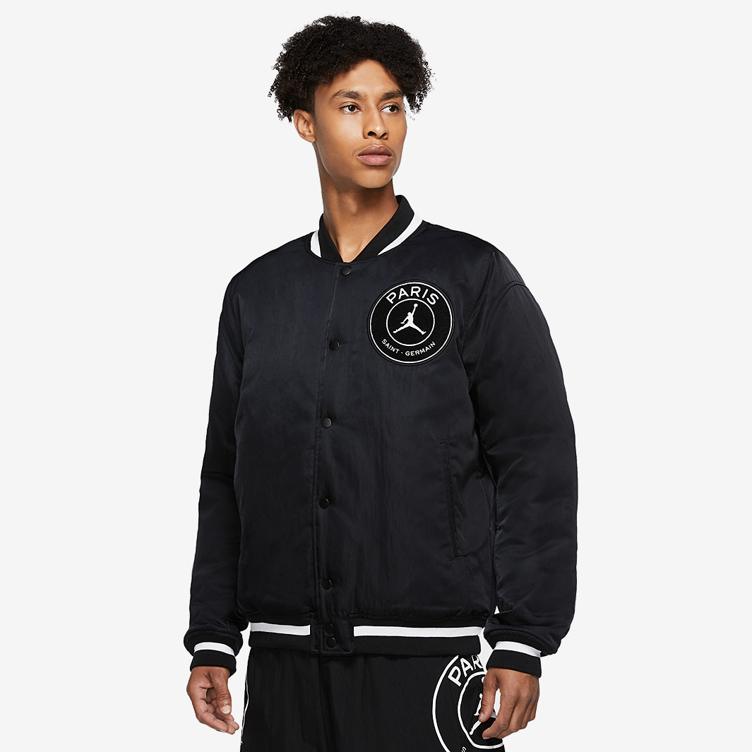 jordan x psg varsity jacket black mens clothing