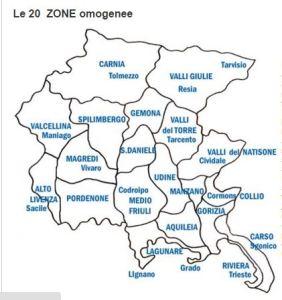 le 20 zone del Friuli Venezia Giulia