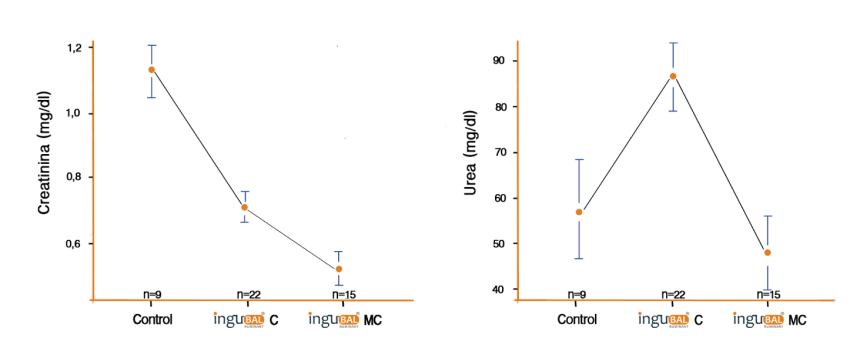 Figura 4. Niveles medios de creatinina y urea (mg/dL) en los grupos de estudio
