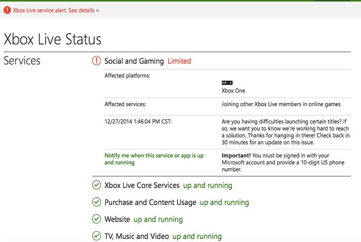 Xbox One Live Status With EA Down On Dec 27 Product Reviews Net