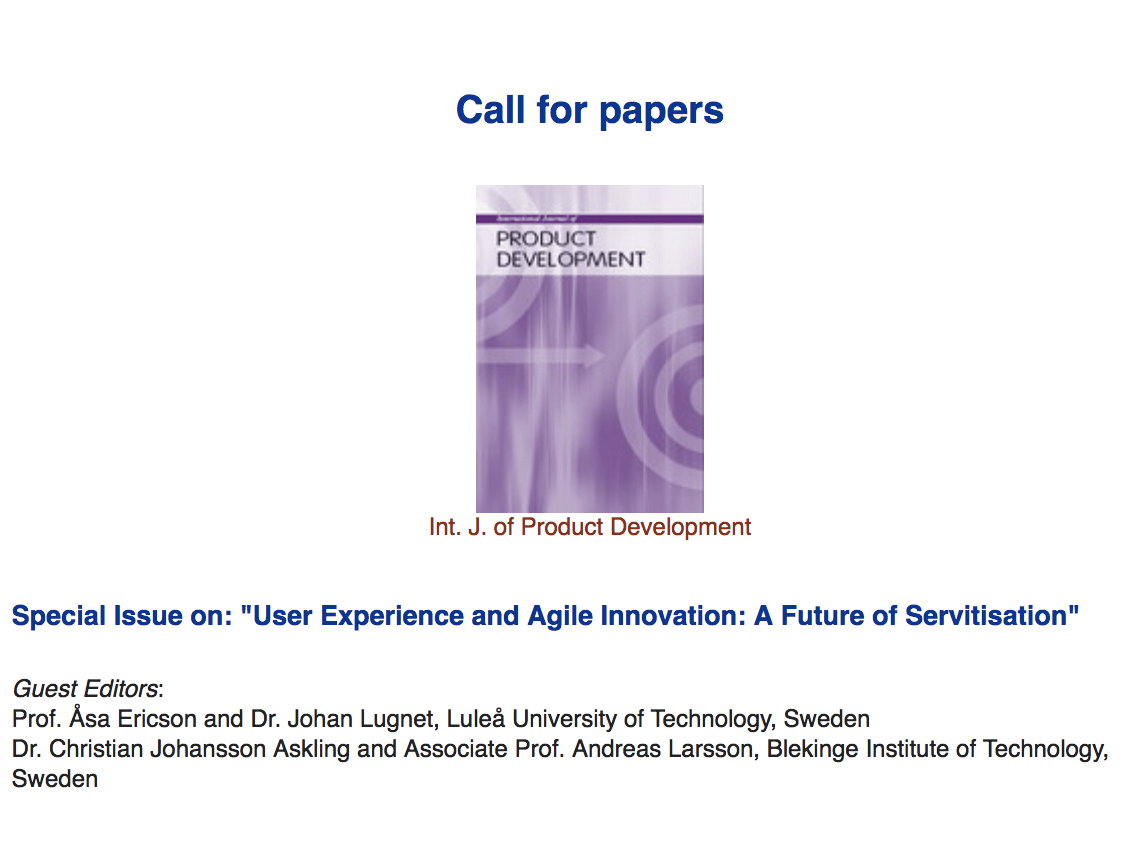 "Call for papers: Special Issue on ""User Experience and Agile Innovation: A Future of Servitisation"""