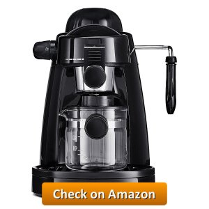 BELLA Personal Espresso Maker With Built In Steam Wand And 5 Bar Pressure