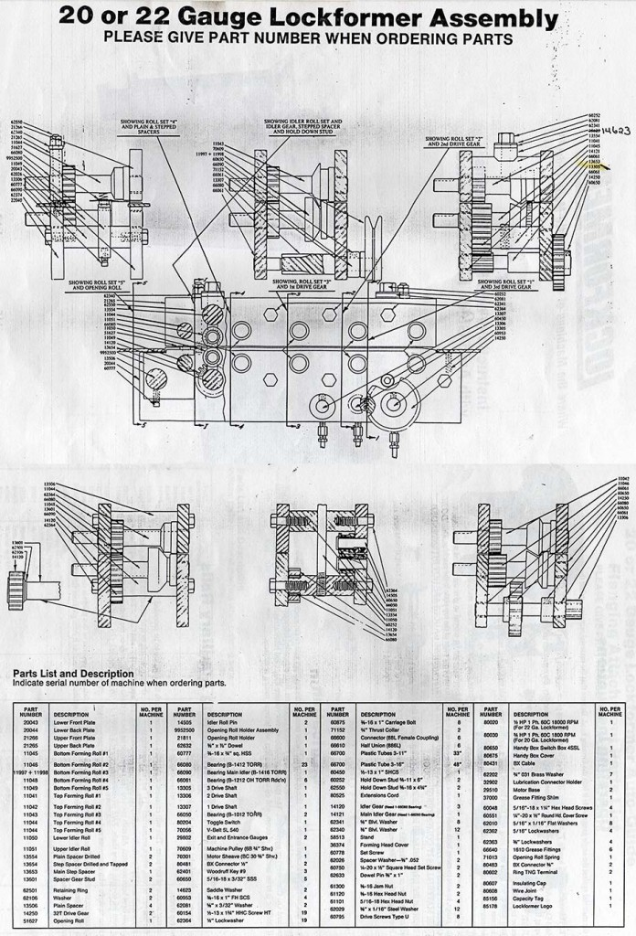 Lockformer Machinery Parts Diagrams 20 Or 22 Gauge