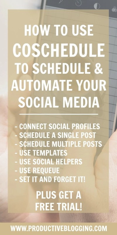 Want to get your time back? Here's how to use CoSchedule to schedule and automate social media, so you can spend more time on the good stuff and less time tediously scheduling and rescheduling social media posts. #coschedule #requeue #setitandforgetit #socialmediamanagement #smm #socialmedia #schedulesocialmedia #automatesocialmedia #socialmediatemplate #socialhelper #growyourblog #bloggrowth #bloggrowthhacks #timemanagement #productivitytips #productivityhacks #productivityhabits #productiveblogging #bloggingtips #blogginghacks #blogsmarter #blogsmarternotharder #BSNH